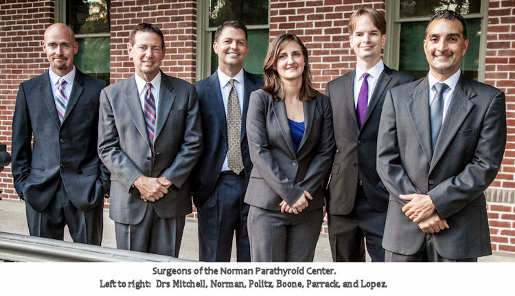 Doctors and surgeons of the Norman Parathyroid Center.
